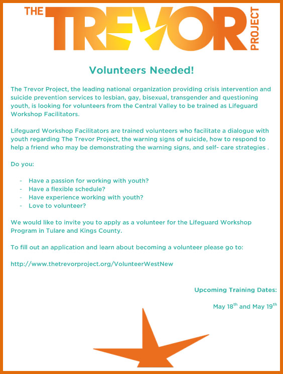 Trevor Volunteer Flyer